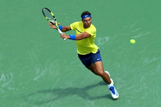 Nadal returns a shot against Albert Ramos-Vinolas on Aug. 18,