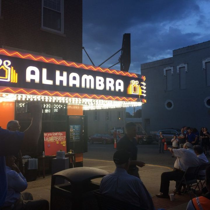 The lights on Hopkinsville's Alhambra Theatre were restored in preparation for the eclipse.