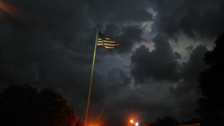 The Stars and Stripes in a storm.