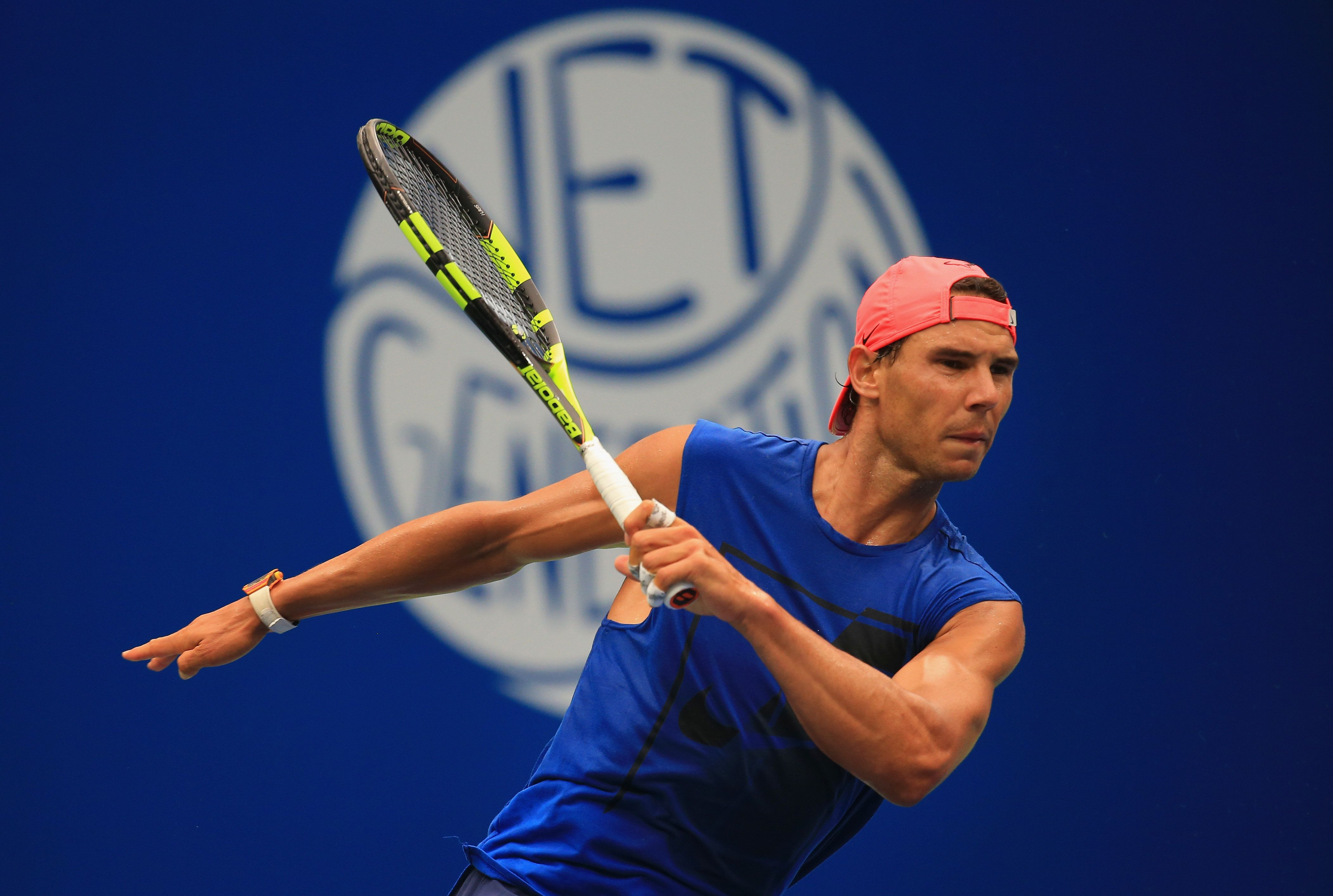 NEW YORK, NY - AUGUST 25:  Rafael Nadal of Spain looks on after returning a shot while practicing prior to the start of the 2017 US Open at the USTA Billie Jean King National Tennis Center on August 25, 2017 in the Queens borough of New York City.  (Photo by Chris Trotman/Getty Images for USTA)