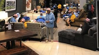 Two Houston furniture stores have been turned into shelters for people displaced by Hurricane Harvey