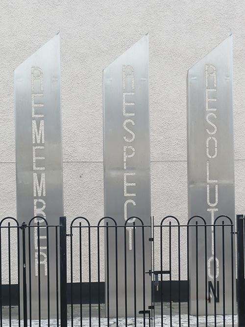 Remember/Respect/Resolution sculpture in Belfast, Northern Ireland by artist Lesley Cherry
