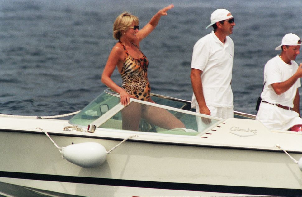 The Princess of Wales in a boat off the coast of the south of France in July 1997, shortly before her death.