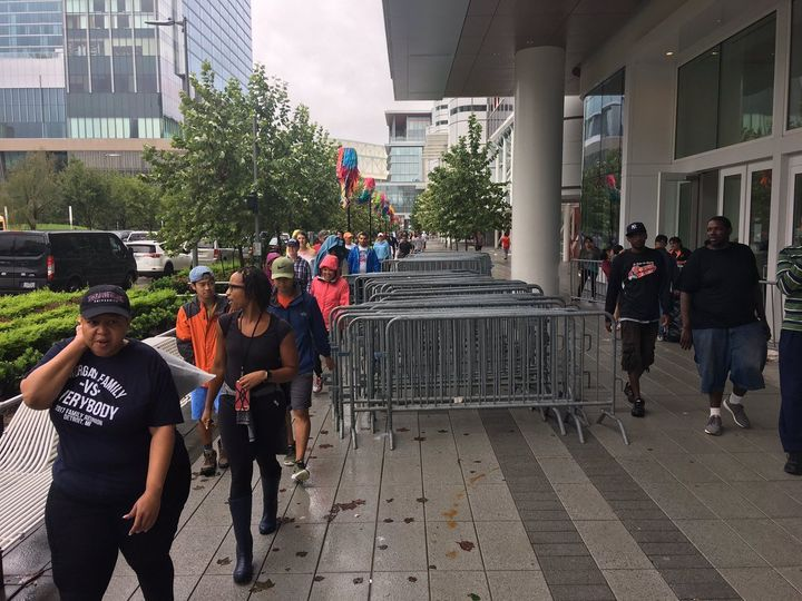 The George R. Brown Convention Center in downtown Houston is being used as a temporary shelter for thousands of displaced res