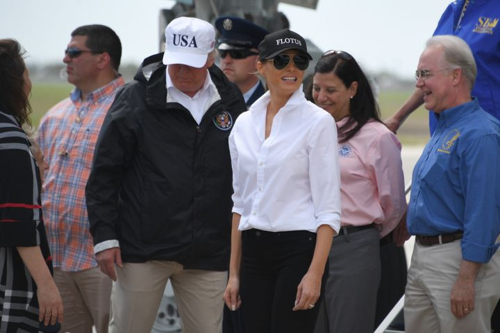"""Trump's """"USA"""" hat is <a href=""""https://shop.donaldjtrump.com/products/official-usa-45th-presidential-hat-white"""" target=""""_blank"""">currently for sale</a> on his website for $40."""