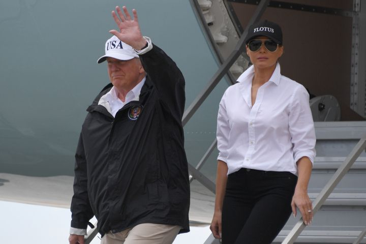 President Donald Trump and first lady Melania Trump arrive in Corpus Christi, Texas, on Tuesday.