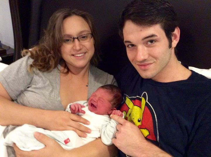 Holly Wood gave birth to Atlas during Hurricane Harvey, with only her husband, John, and a nurse-midwife by her side.