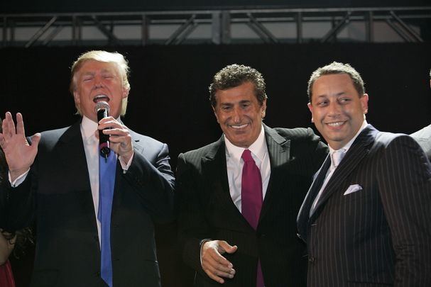 Donald Trump, Tevfik Arif and Felix Sater attend the Trump Soho Launch Party on September 19, 2007 in New York. (Photo by Mark Von Holden/WireImage)