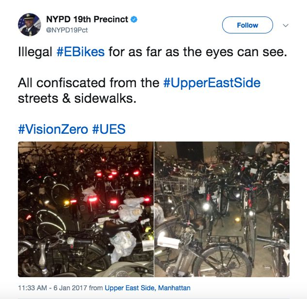 NYPD tweeting about its Vision Zero crackdowns on e-bikes