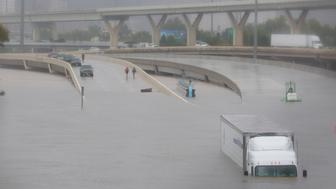 Interstate highway 45 is submerged from the effects of Hurricane Harvey seen during widespread flooding in Houston, Texas, U.S. August 27, 2017. REUTERS/Richard Carson