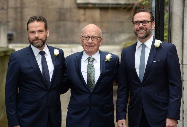 Rupert Murdoch accompanied by his sons James (right) and Lachlan