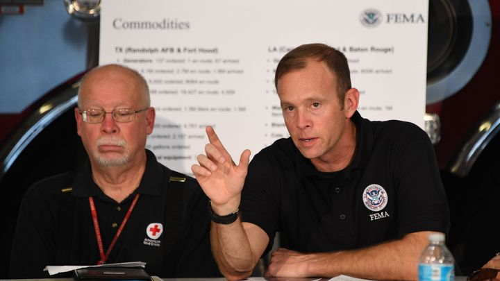 FEMA Administrator Brock Long speaks Tuesday at a firehouse briefing on Hurricane Harvey in Corpus Christi, Texas.