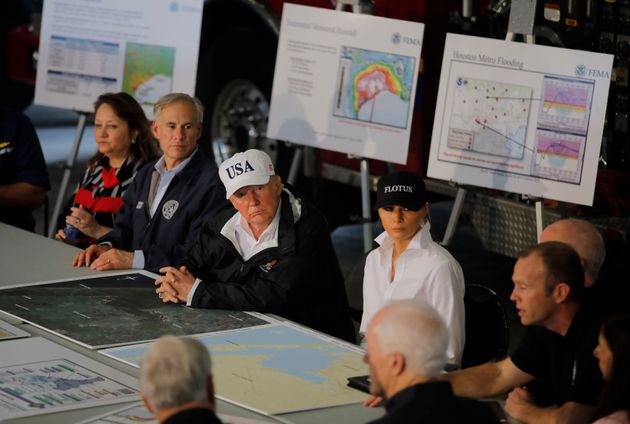 The president and first lady receive a briefing on Tropical Storm Harvey relief efforts with Texas...