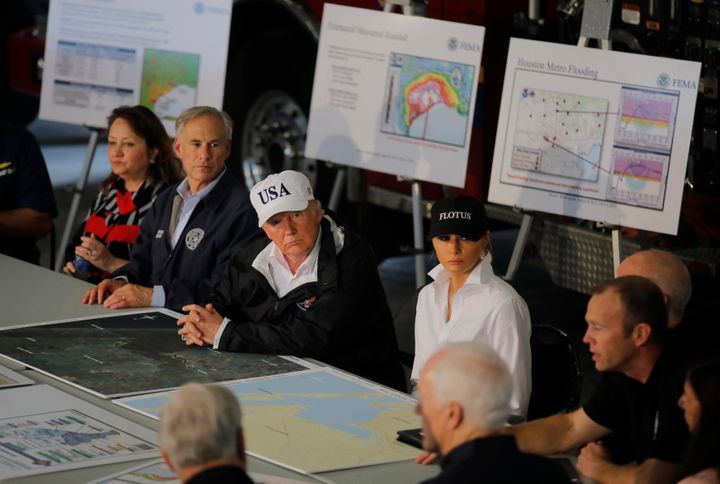 The president and first lady receive a briefing on Tropical Storm Harvey relief efforts with Texas Gov. Greg Abbott