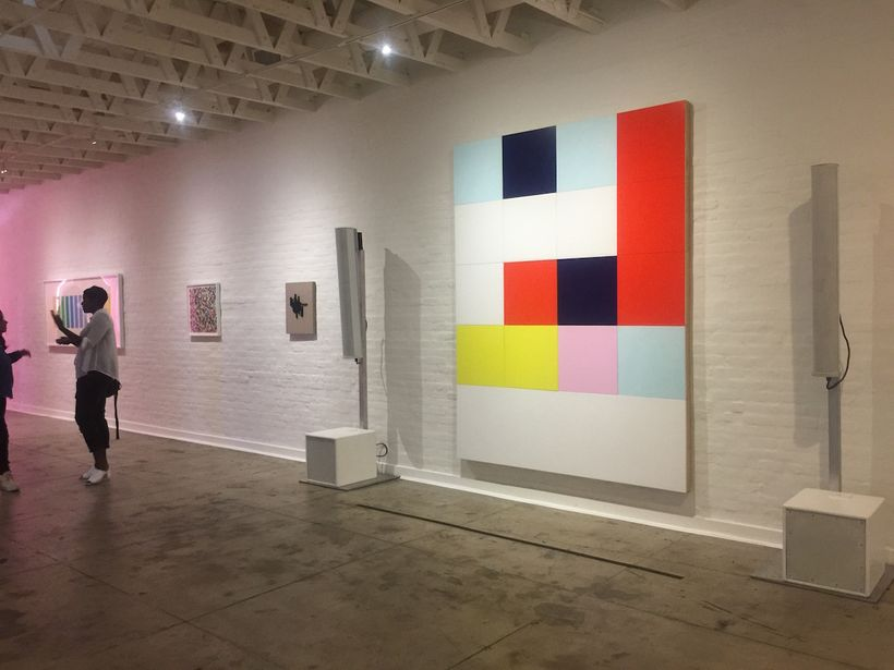 """Installation shot: """"Artists of Color"""" at The Underground Museum. Photo by Edward Goldman."""