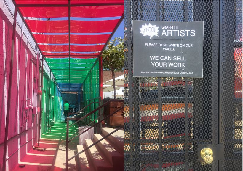 L: Diana Thater, <em>RGB Windows for MOCA adapted for The Underground Museum</em>. R: A sign on the exterior façade of The Un