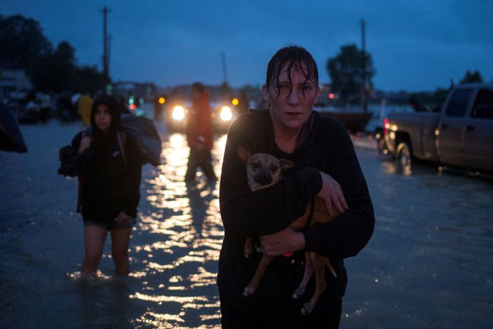 A woman holds her dog on Monday as she arrives to high ground after evacuating her home in east Houston.
