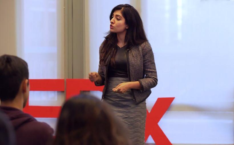 <em>Shivika sharing her story as a TEDx speaker</em>