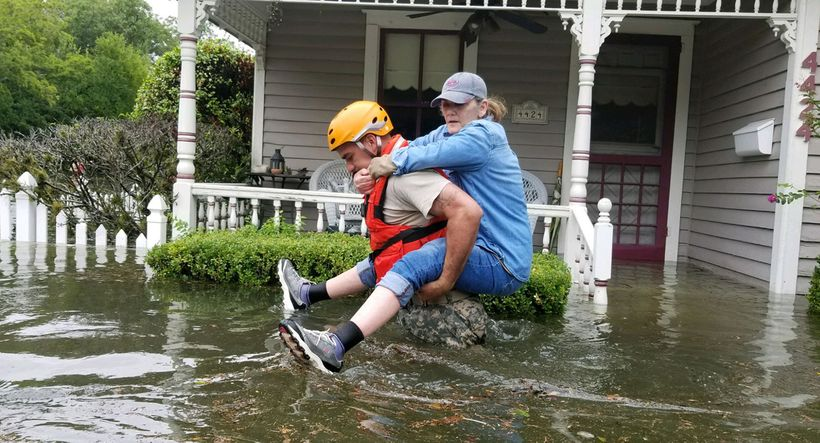 "A solider conducts a rescue operation near Houston in the aftermath of Hurricane Harvey. <a rel=""nofollow"" href=""https://www."