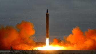 A missile is launched during a long and medium-range ballistic rocket launch drill in this undated photo released by North Korea's Korean Central News Agency (KCNA) in Pyongyang on August 30, 2017.  KCNA/via REUTERS  ATTENTION EDITORS - THIS IMAGE WAS PROVIDED BY A THIRD PARTY. REUTERS IS UNABLE TO INDEPENDENTLY VERIFY THIS IMAGE. SOUTH KOREA OUT. NO THIRD PARTY SALES. NOT FOR USE BY REUTERS THIRD PARTY DISTRIBUTORS.