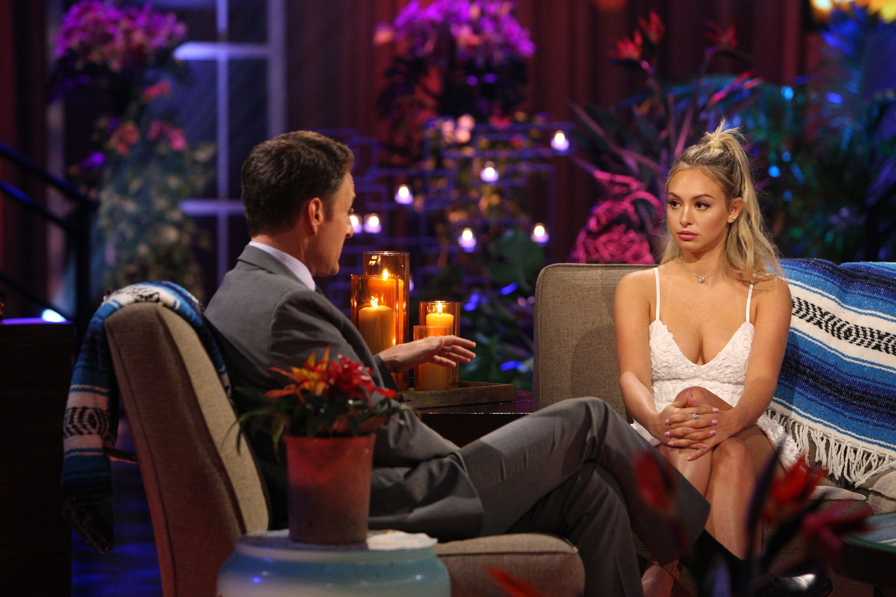 "Corinne Olympios tells her side of the story in an in-studio interview with ""Bachelor in Paradise"" host Chris Harrison on Tue"