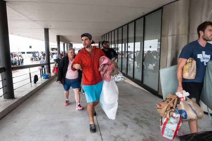 People bring donations to Lakewood Church.