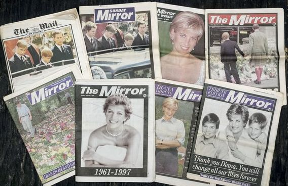 British Newspaper front covers reporting the death of Princess