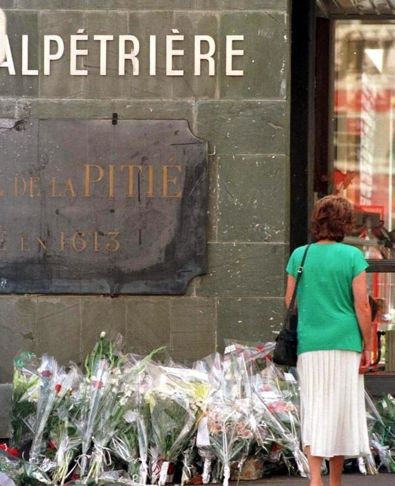Flowers lain at the Pitie Salpetriere in Paris, France after it was announced Diana had