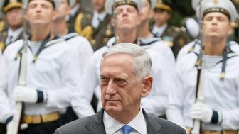 U.S. Secretary of Defense James Mattis walks past honour guards during a welcoming ceremony in Kiev, Ukraine August 24, 2017. REUTERS/Gleb Garanich