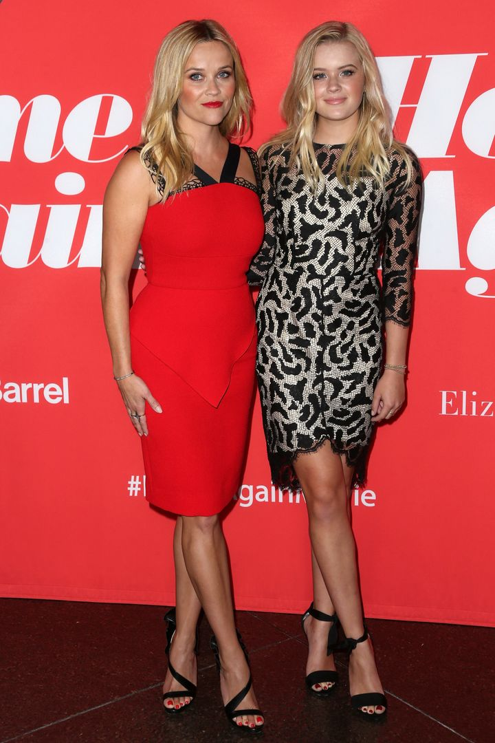 "Reese Witherspoon and daughter Ava at the premiere of ""Home Again."""