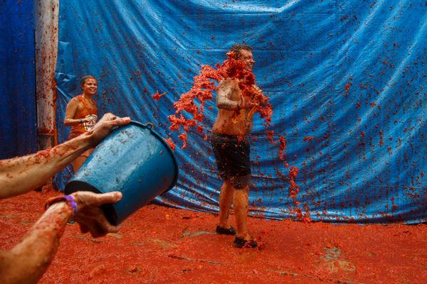 Everyone walks away smiling from La Tomatina.