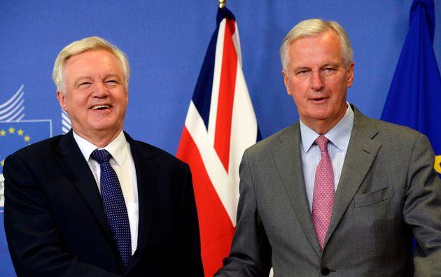 Brexit Secretary David Davis and EU Brexit negotiator Michel