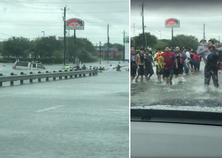 People are seen forming a human chain to rescue a man who was trapped in a sinking car.