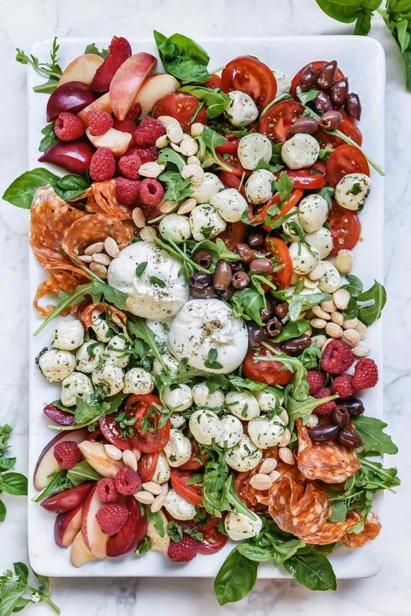 "<strong>Get the <a href=""http://www.foodiecrush.com/caprese-salad-platter/"" target=""_blank"">Caprese Salad Platter recipe</a>&"