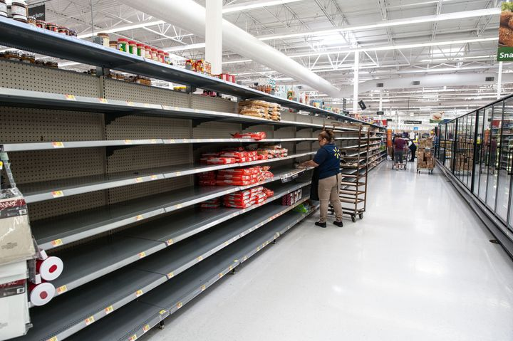 Hawaiian rolls and tortillas were the only remaining bread products at the Walmart in Katy, Texas, on Wednesday.