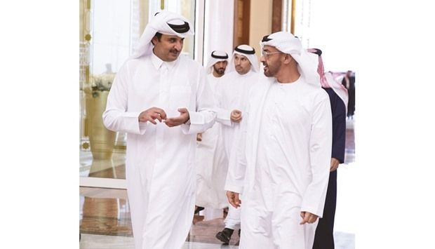 Sheikh Tamim and Crown Prince Mohammed bin Zayed