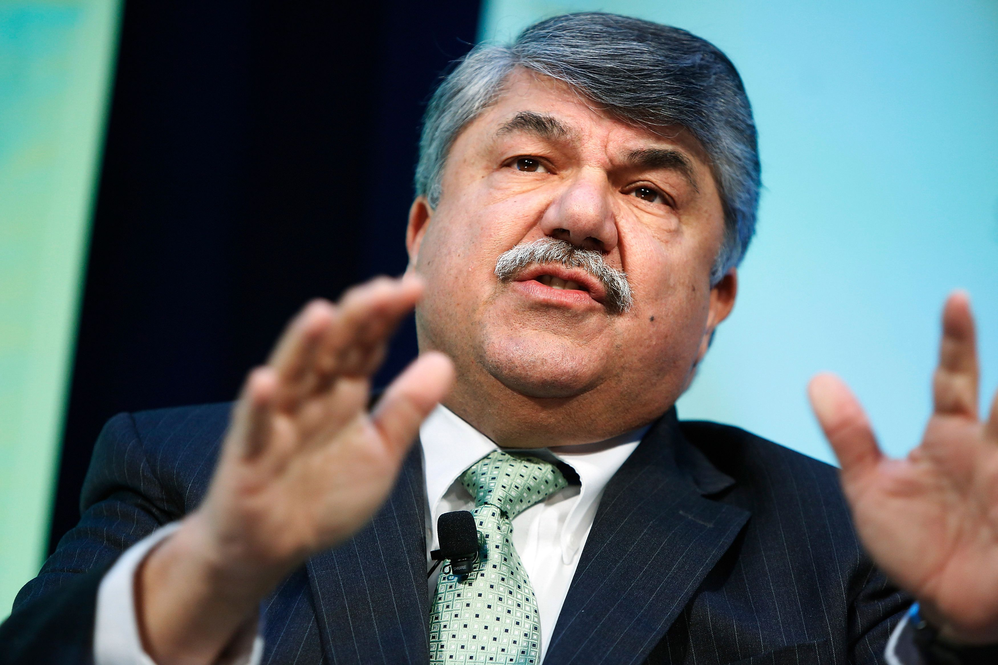 AFL-CIO President Richard Trumka takes part in an onstage interview during The Atlantic Economy Summit in Washington March 18, 2014.   REUTERS/Jonathan Ernst    (UNITED STATES - Tags: POLITICS BUSINESS)