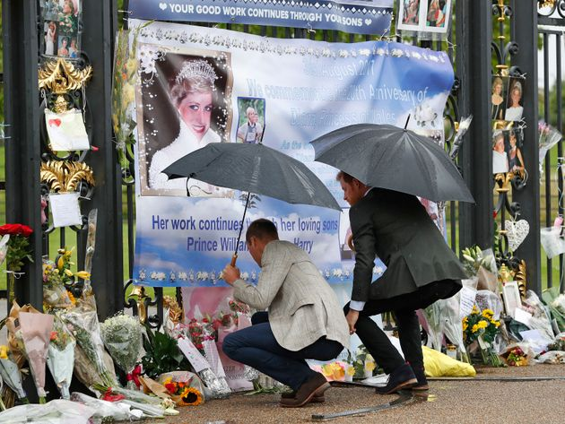 Tributes to Diana, Princess of Wales, have been attached to the Golden Gates of Kensington