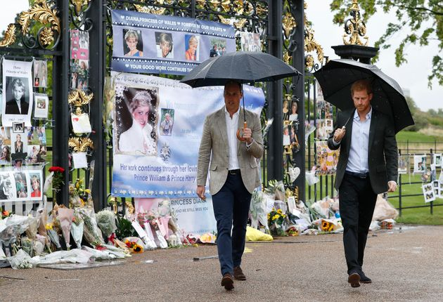 The Duke of Cambridge and Prince Harry depart after viewing tributes to