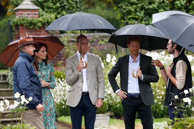 The Duke and Duchess of Cambridge and Prince Harry visit the White Garden in Kensington
