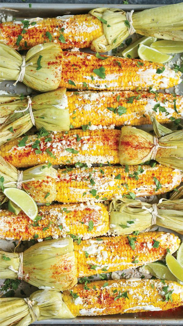 "<strong>Get the <a href=""http://damndelicious.net/2017/06/09/roasted-mexican-street-corn/"" target=""_blank"">Roasted Mexican St"