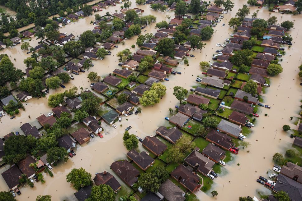 Submerged Houston neighborhoods near Interstate 10 in the wake of Tropical Storm Harvey on Aug. 29, 2017.