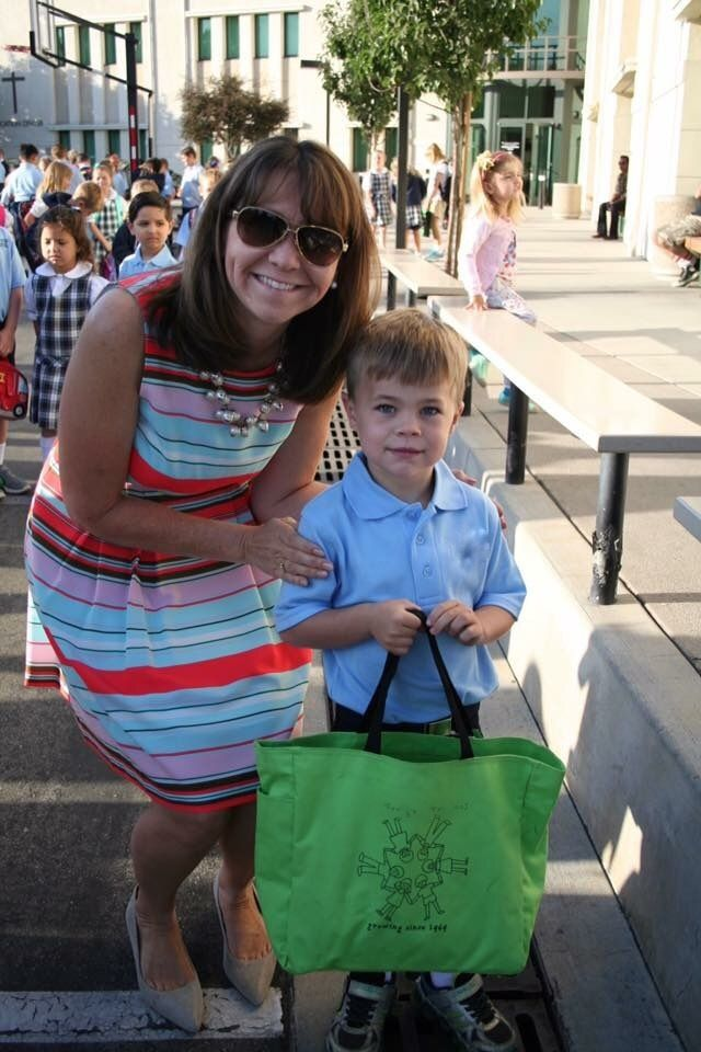 "My youngest with his teacher on his first day of kindergarten. <a rel=""nofollow"" href=""https://presentperfectsite.com/"" targe"