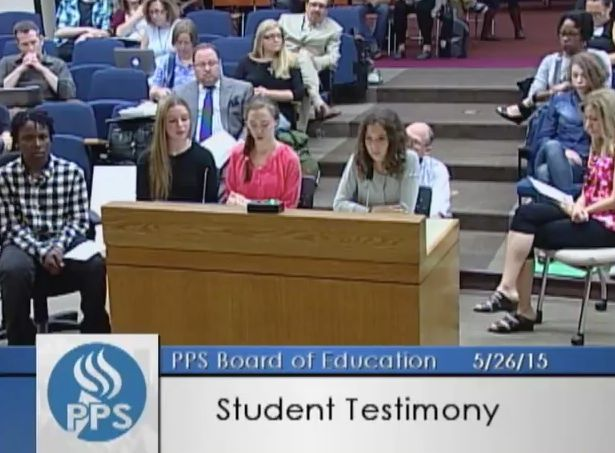 Sophia Carlson and three other middle school students spoke at a Portland Public School board hearing in protest of dress codes.