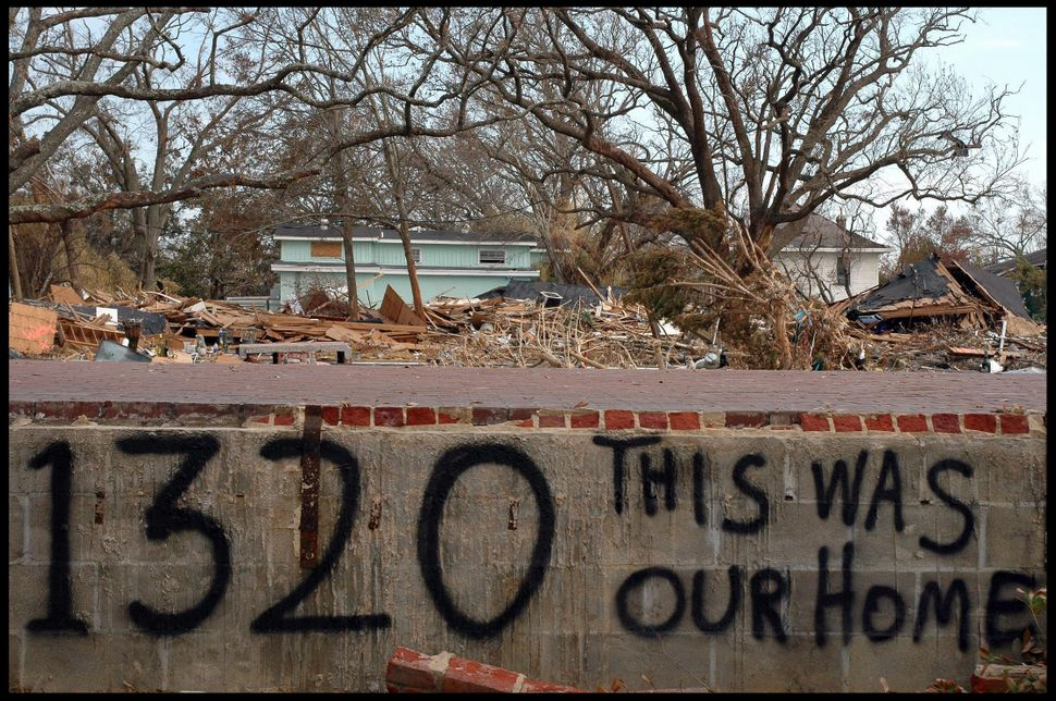 People had left messages in the wake of Hurricane Katrina's destruction.