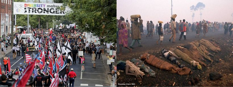 Left: White Nationalists rally amid protesters in Charlottesville, USA 2017. Right: Roads lined with bodies of victims, as re
