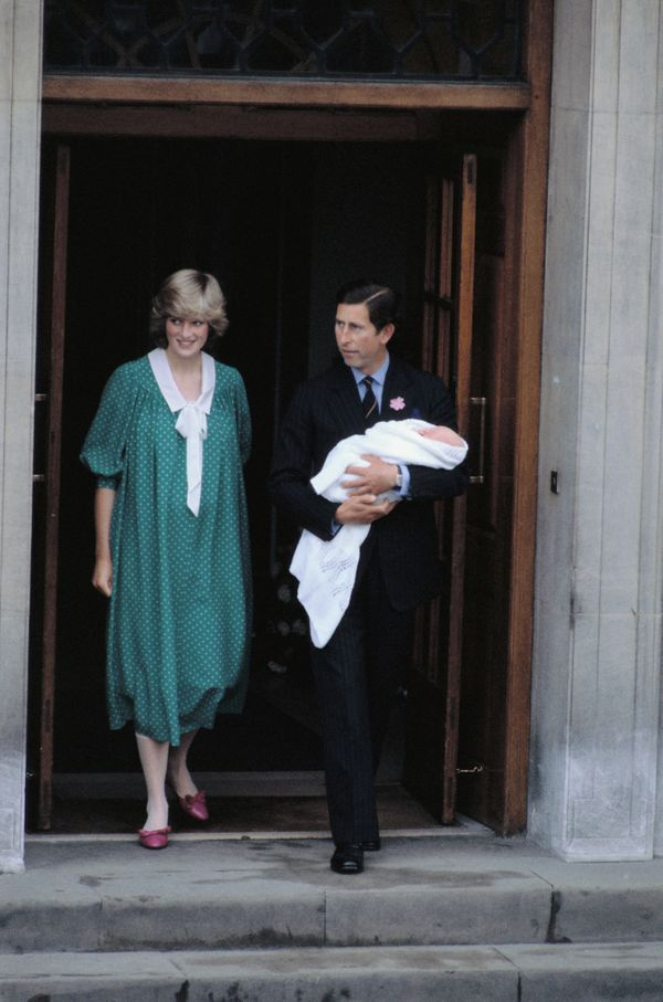 With Prince Charles and newborn Prince William in London.