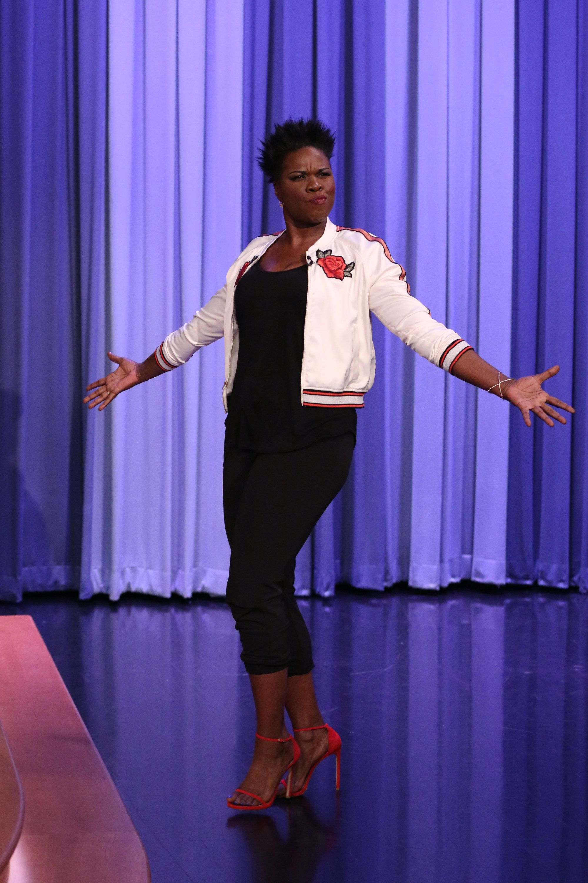 THE TONIGHT SHOW STARRING JIMMY FALLON -- Episode 0662 -- Pictured: Comedian Leslie Jones arrives for an interview on April 26, 2017 -- (Photo by: Andrew Lipovsky/NBC/NBCU Photo Bank via Getty Images)