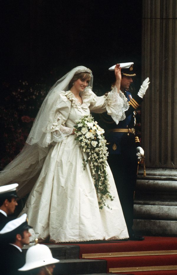 With Prince Charles at their wedding at the St. Paul's Cathedral.