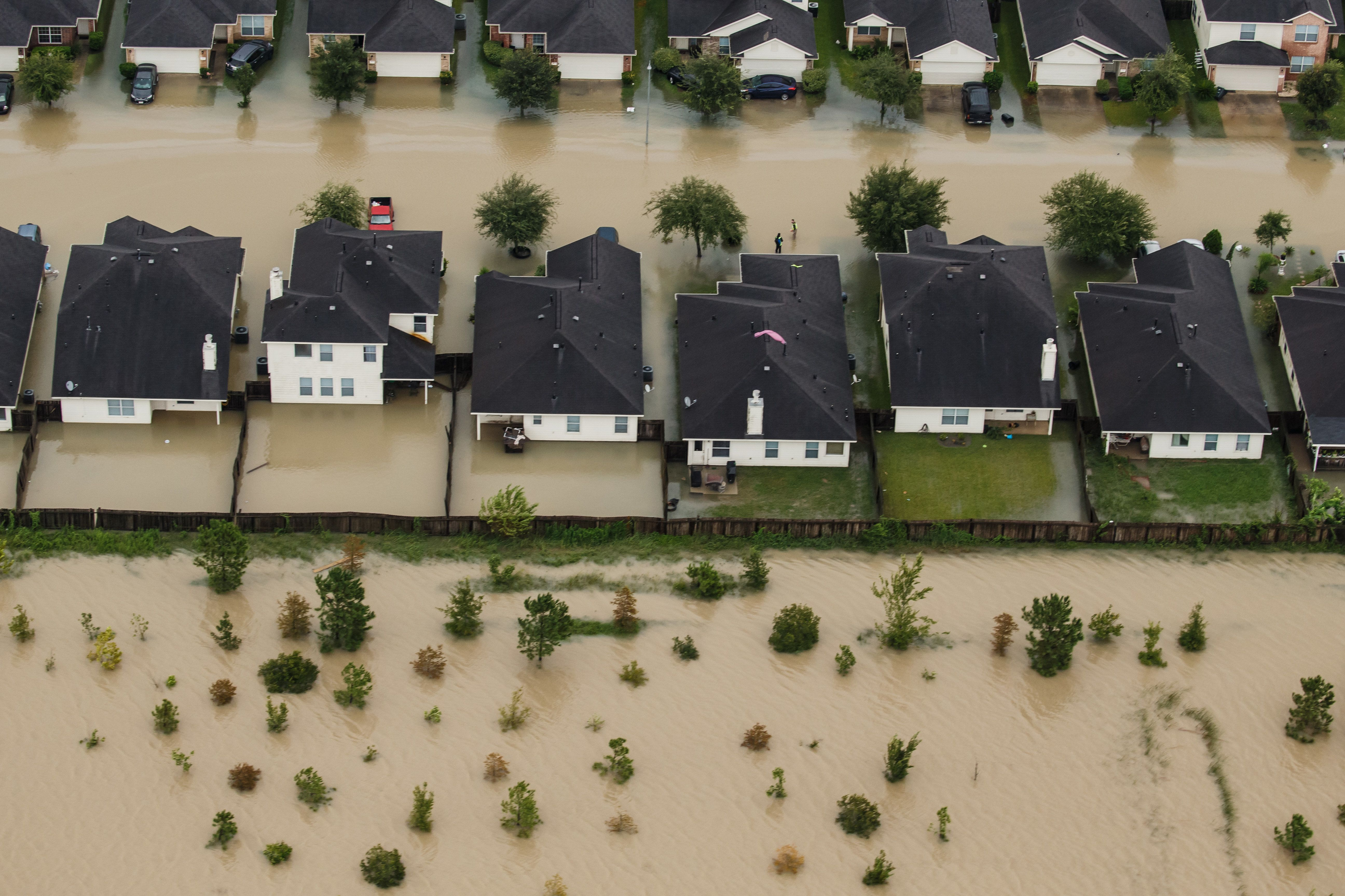 HOUSTON, TEXAS -- TUESDAY, AUGUST 29, 2017: Residential neighborhoods near the Interstate 10 sit in floodwater...